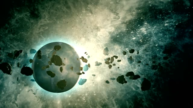 asteroid belt orbiting planet earth - science fiction film stock videos & royalty-free footage