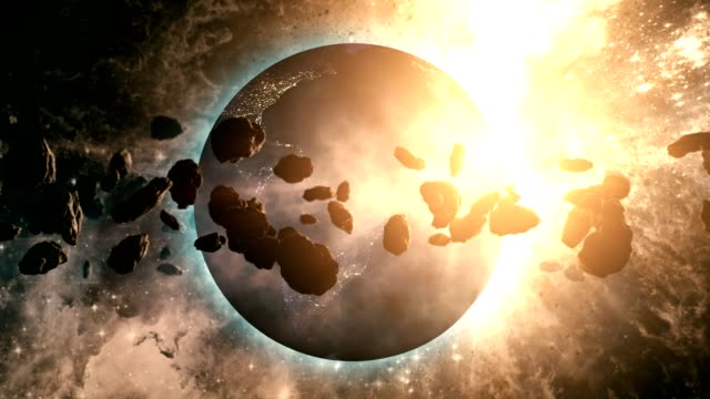 vídeos de stock e filmes b-roll de asteroid belt orbiting planet earth - fantasia