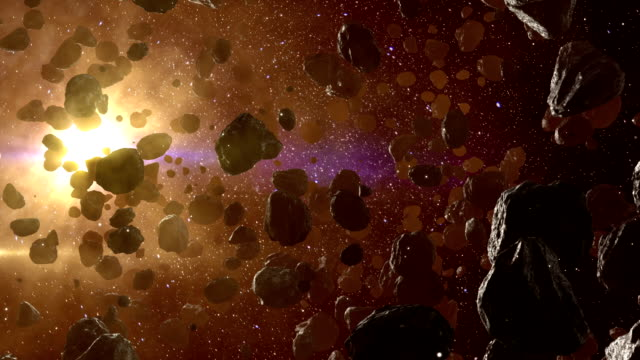 Asteroid field in outer space against sun