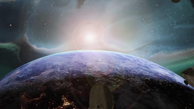 vídeos de stock e filmes b-roll de asteroid in space floating towards earth - gigante personagem fictícia