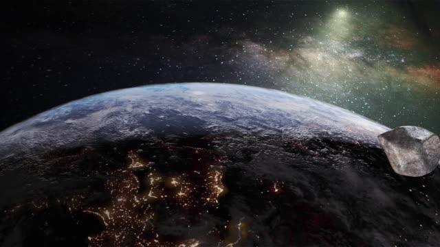 vídeos y material grabado en eventos de stock de asteroide en el espacio golpeando la tierra - impacto