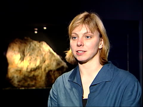 london natural history museum sara russell interview sot 1% chance of a 300m asteroid hitting the earth in the next century - near miss stock videos and b-roll footage