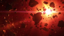 4K. Asteroids Cluster In The Rays Of Red Sun.