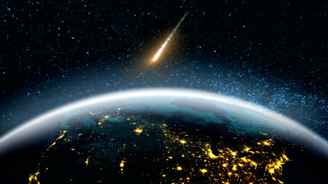 Asteroids in space fly to earth