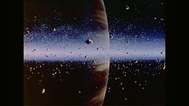 asteroids slowly float within the asteroid belt - 小惑星点の映像素材/bロール