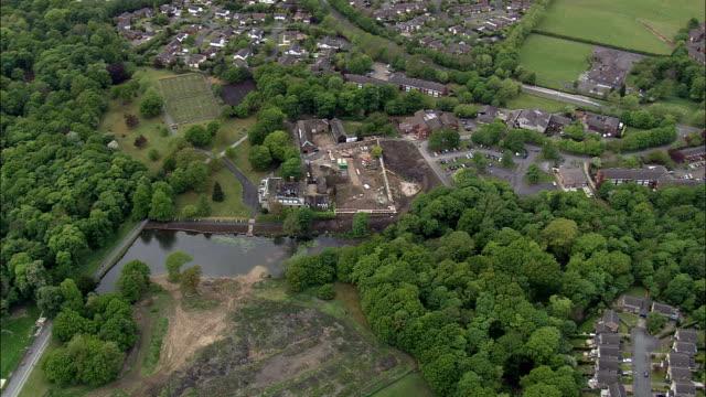 astley hall  - aerial view - england, lancashire, chorley district, united kingdom - lancashire stock videos and b-roll footage