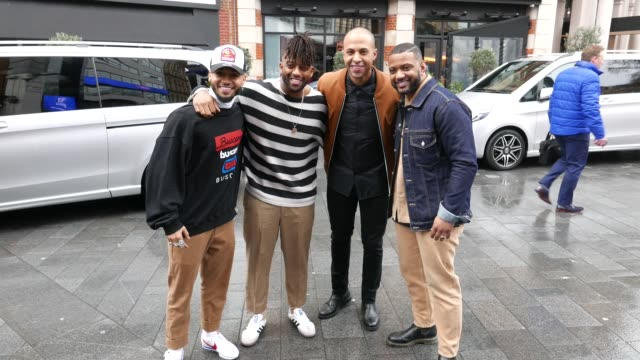 aston merrygold marvin humes oritse williams and jb gill from jls seen outside the capital breakfast studios on february 13 2020 in london england - gill stock videos & royalty-free footage