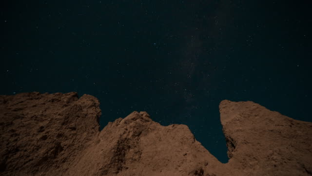 vidéos et rushes de astral night time sky time lapse; stars move and twinkle through the dark sky over a rocky rugged landscape. - parc national des badlands