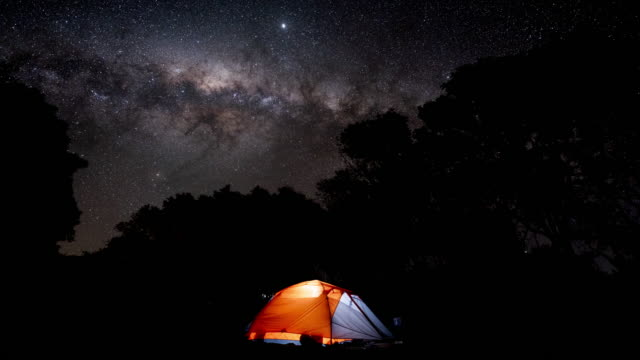 astro time-lapse of tent in camping ground - oahu stock videos & royalty-free footage