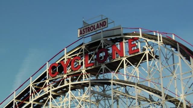 cu, astroland cyclone in astroland park, coney island, new york city, new york, usa - coney island stock videos & royalty-free footage