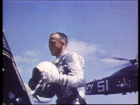 astronaut alan shepard taking helmet from space capsule - 1961 stock videos & royalty-free footage