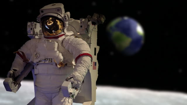 Astronaut floating in outer space above the moon with planet earth in the background