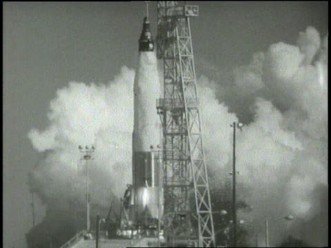 astronaut john glenn blasts off in the friendship 7 space capsule - 1962 stock-videos und b-roll-filmmaterial