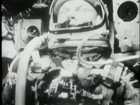 astronaut john glenn talks while in his space suit. - space exploration stock videos & royalty-free footage