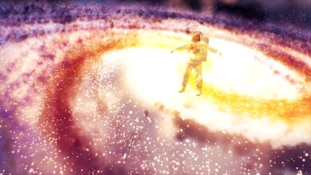 astronaut nebula galaxy cloud - atmosphere filter stock videos & royalty-free footage