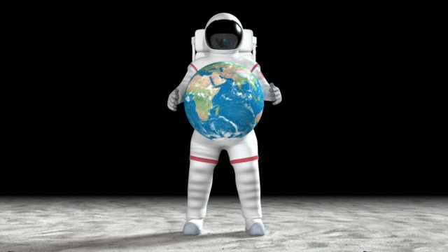 Astronaut On The Moon's Surface Holding The Earth