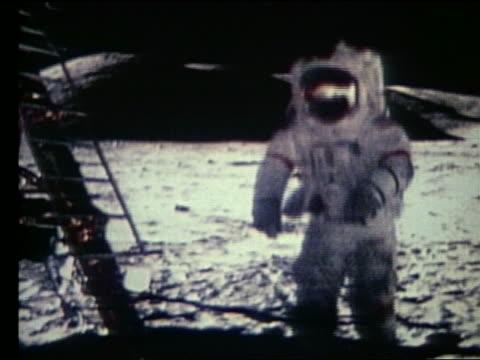 Astronaut running toward lunar lander on Moon / Apollo 17