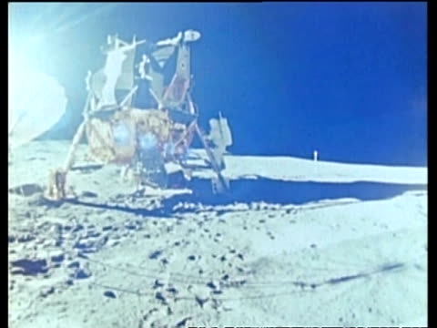 astronaut stepping on to lunar surface from lunar module, apollo 14 - moon stock videos & royalty-free footage