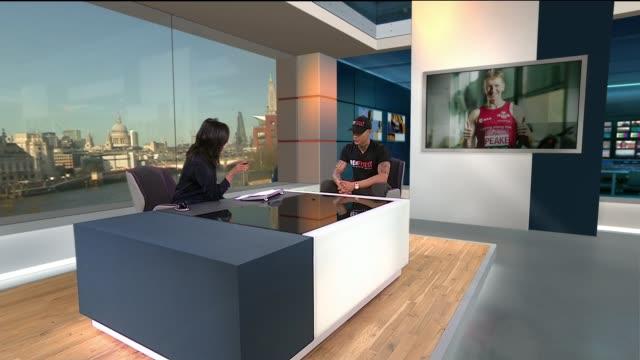 astronaut tim peake to run the london marathon in space; england: london: int tyrone brennand live studio interview sot - ニナ・ホサイン点の映像素材/bロール