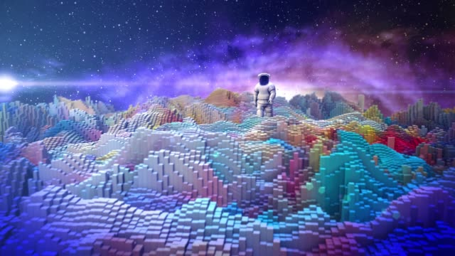 astronaut walking in futuristic digital blocks distant galaxy - space exploration stock videos & royalty-free footage