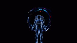 Astronaut with a futuristic virtual interface.