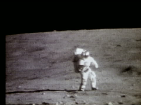 Astronaut working on Moon surface