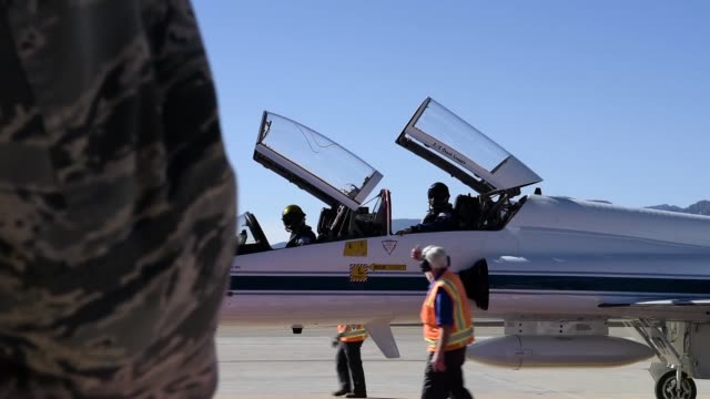 Astronauts arrive at Peterson Air Force Base Colorado Springs in a T38 Talon