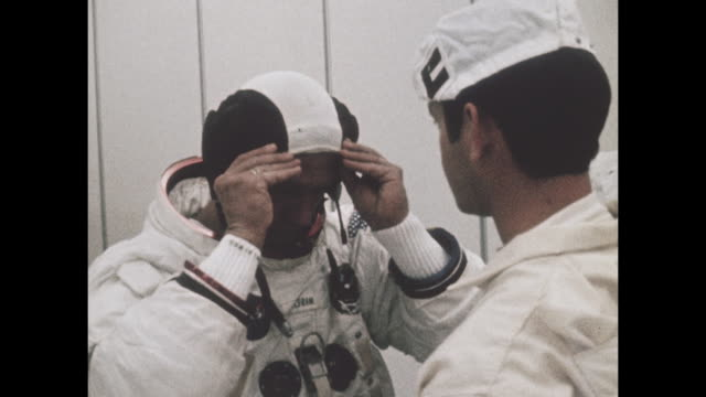 vídeos de stock e filmes b-roll de astronauts from apollo 11 preparing for mission launch, the first manned space craft due to land and walk on the moon from the kennedy space center... - prt