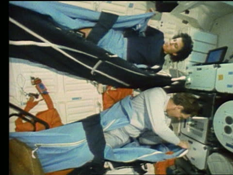 astronauts getting into sleeping bags on space shuttle atlantis - atlantis stock videos and b-roll footage