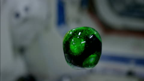 vidéos et rushes de astronauts on the international space station dissolve an effervescent tablet in a floating ball of water. - apesanteur