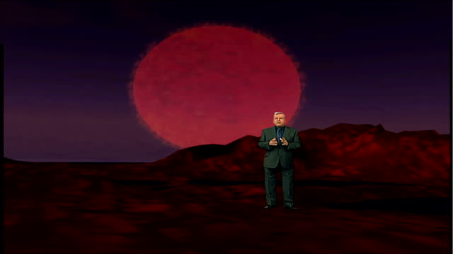 Astronomers discover earthlike planet ENGLAND London INT Reporter to camera in front of videowall