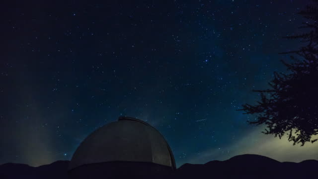 Astronomical Observatory At Night - Stars Moving On The Background