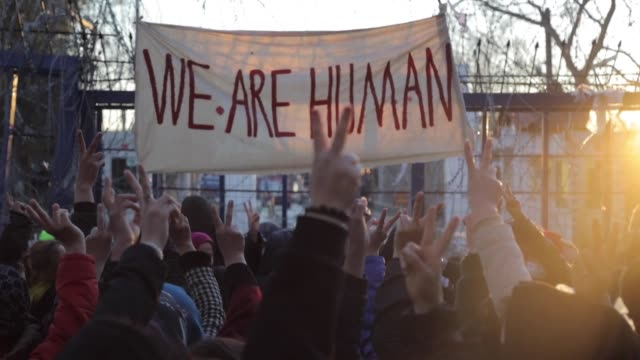 asylum seekers at the turkish and greek borders stage a protest to push athens to allow safe passage into european territory on march 16, 2020. while... - human stage stock videos & royalty-free footage