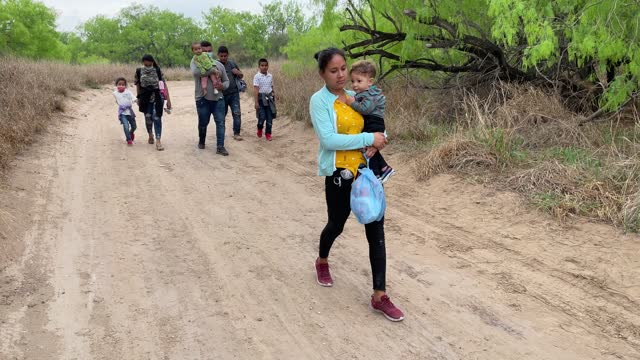 asylum seekers from honduras walk towards a u.s. border patrol checkpoint after crossing the rio grande from mexico on march 23 near mission, texas.... - refugee stock videos & royalty-free footage