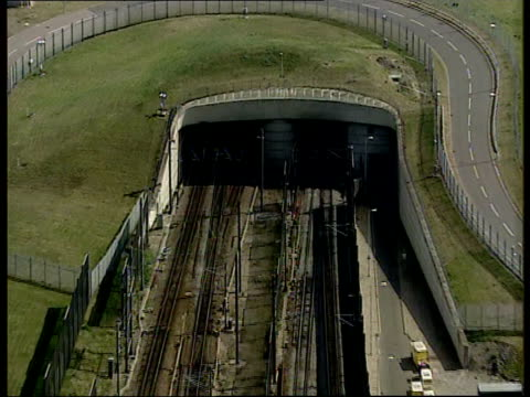 Asylum Seekers Injured in Channel Tunnel Asylum Seekers Injured in Channel Tunnel LIB Entrance to Channel Tunnel AIR VIEW Train carriages along track...