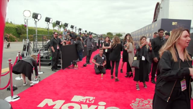 at 2018 mtv movie & tv awards - arrivals at barker hangar on june 16, 2018 in santa monica, california. - mtvムービー&tvアワード点の映像素材/bロール