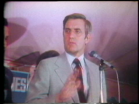 at a campaign event in maryland, us vice presidential candidate sen. walter mondale claims that americans want better and more responsive government. - united states and (politics or government) stock videos & royalty-free footage