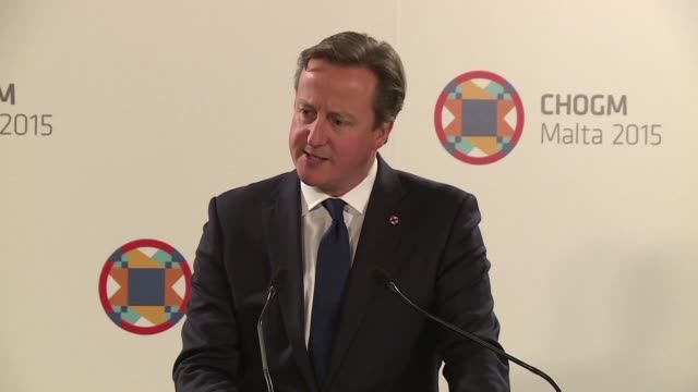 at a press conference in malta where a commonwealth conference is being held british prime minister david cameron said the focus has been on three... - david cameron politician stock videos & royalty-free footage