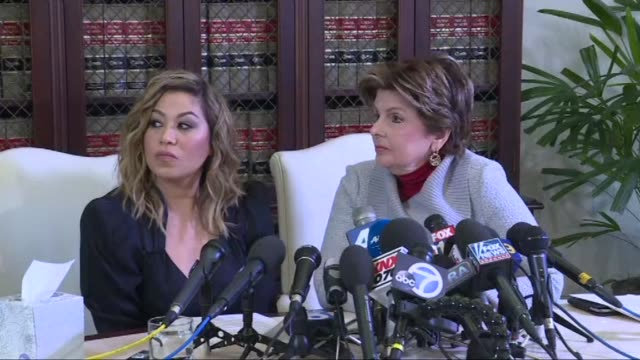 at a press conference with her lawyer gloria allred r. kelly accuser lizette martinez says claims from the singer's lawyer that alleged victims are... - r. kelly stock videos & royalty-free footage
