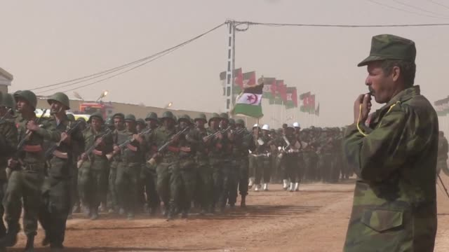 At a Sahrawi refugee camp in Tindouf in Algerian territory a military parade of Sahrawi forces in front of president Mohamed Abdelaziz marks the 40th...