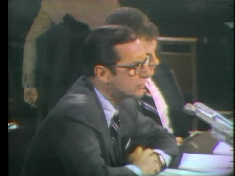 at a senate budget committee hearing, treasury secretary william simon says the us should fight both inflation and recession, and dodges a question... - 1974 stock videos & royalty-free footage