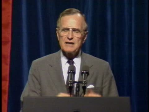 at a speech to a group of australian businessmen, us president george h. w. bush says that economic protectionism closes markets and costs jobs. - (war or terrorism or election or government or illness or news event or speech or politics or politician or conflict or military or extreme weather or business or economy) and not usa stock videos & royalty-free footage