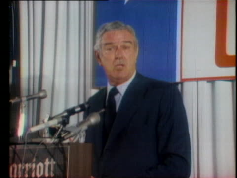at a speech to the republican women's conference john connally says the nation will survive the scandal involving vice president spiro agnew - john connally stock videos & royalty-free footage