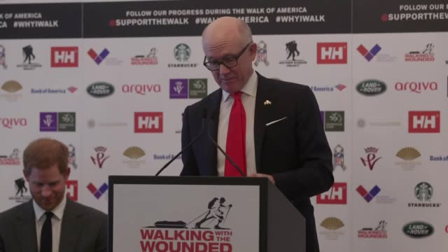 at a walking with the wounded event the us ambassador to the uk robert wood johnson wishes harry and meghan a happy life together - meghan harry stock videos and b-roll footage