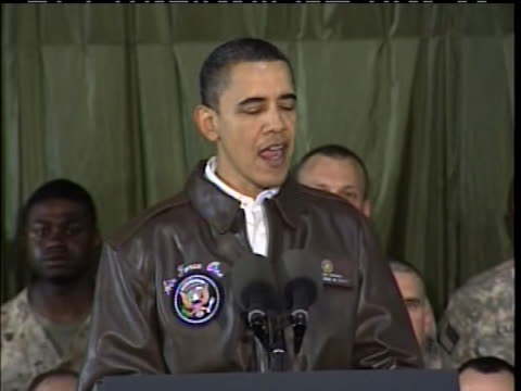 at bagram airfield in afghanistan, president obama tells troops that their mission in that country is vital, and that if it was not, he would send... - bagram stock-videos und b-roll-filmmaterial