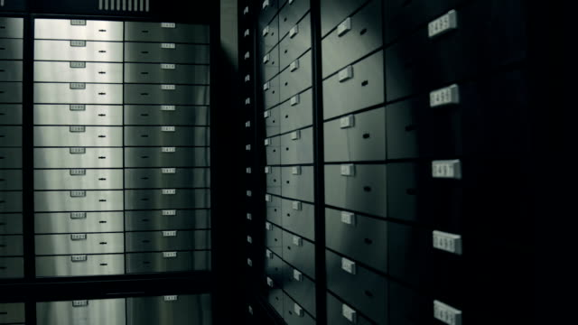 at bank. room with safety deposit boxes - safe stock videos & royalty-free footage