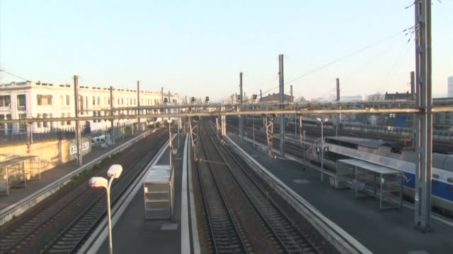 at bordeaux train station where just one high speed tgv is scheduled to leave today because of france's nationwide transport strike platforms are... - tgv stock videos & royalty-free footage