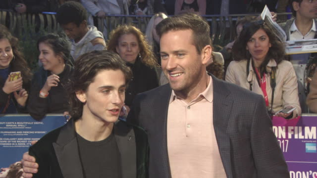 clean at 'call me by your name' uk premiere 61st bfi london film festival at odeon leicester square on october 09 2017 in london england - armie hammer stock videos & royalty-free footage