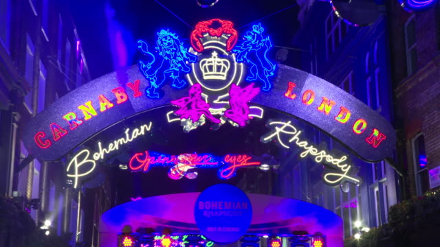 atmosphere at carnaby street bohemian rhapsody light installation switch on ceremony at carnaby street on october 21 2018 in london england - light switch stock videos & royalty-free footage