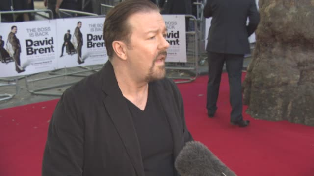 at 'david brent: life on the road' uk film premiere at leicester square on august 10, 2016 in london, england. - ricky gervais stock videos & royalty-free footage